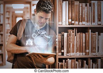 seu, tabuleta, trabalhando, universidade, biblioteca, pc, estudante universitário, digital, interface, futurista, bonito