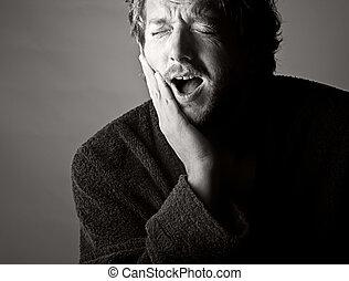 seu, tiro, toothache!, dramático, jaw., segurando, pretas, branca, dor, homem