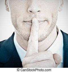 seu, topo, -, jovem, lábios, dedo, homem negócios, secret!