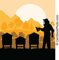 seu, trabalhando, apicultor, vetorial, fundo, apiário