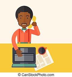 seu, trabalhando escritório, sentando, desk., homem africano
