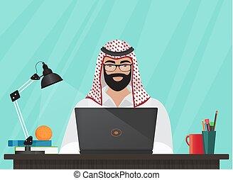 seu, trabalhando escritório, sentando, muçulmano, laptop., ou, árabe, vetorial, escrivaninha, homem negócios, programador, caricatura, illustration.
