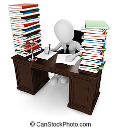 seu, trabalhando, sentando, escrivaninha, homem, 3d
