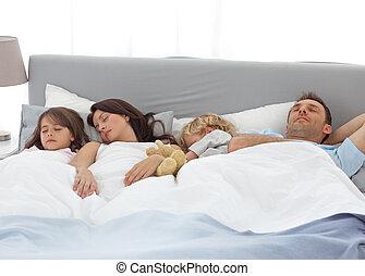 seu, tranqüilo, pais, crianças, dormir
