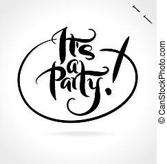 seu, um, partido, mão, lettering