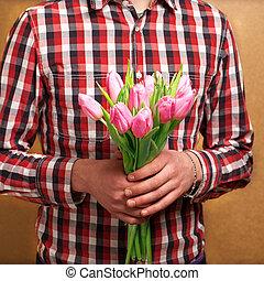 seu, valentine,  rosÈ, par,  -, esperando, mulher, homem, Dia, amando