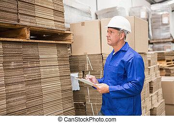 seu, verificar, trabalhador, lista, área de transferência, armazém