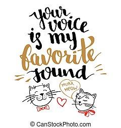 seu, voz, é, meu, favorito, som, caligrafia, cartão