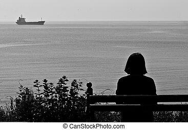 seul, banc, séance femme