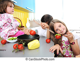 seul, enfants, cuisine