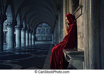 seul, femme, manteau, prier, rouges