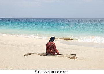 seul, femme, plage
