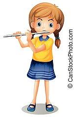 seul, girl, flûte, jouer