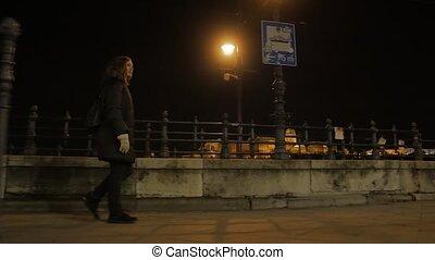 seul, girl, nuit, promenade