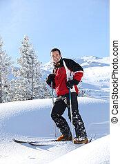seul, homme, ski
