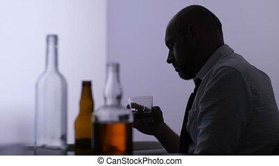 seul, maison, boire, full-fledged, alcoolique