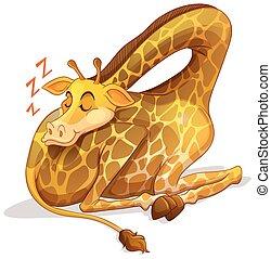 seul, mignon, girafe, dormir