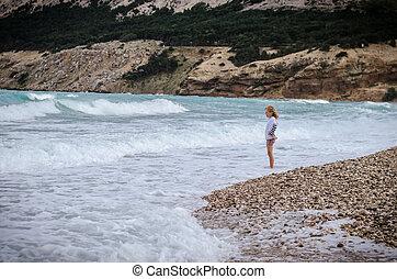seul, plage, enfant