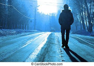 seul, silhouette, hiver, route