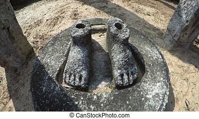 seulement, pieds, ruine, site, remain, détruit, polonnaruwa...