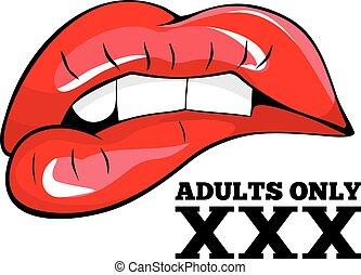 seulement, xxx, signe, signe., adultes