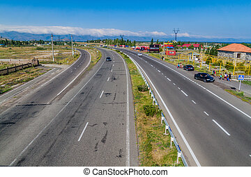SEVAN, ARMENIA - JULY 10, 2017: Freeway bypassing Sevan town, Armenia