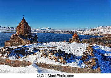 Sevan temple complex on the peninsula of the Lake Sevan, Armenia.