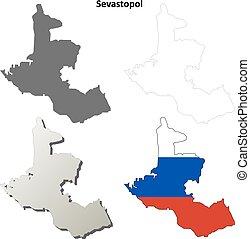 Sevastopol blank outline map set - Russian version