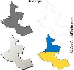 Sevastopol blank outline map set - Ukrainian version