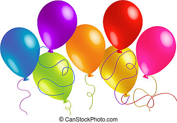 Seven Beautiful Party Balloons - Here are seven bright and...