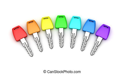 Seven car keys of rainbow colors isolated on white