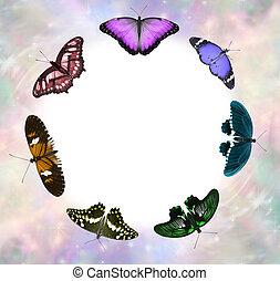 Seven Chakra Coloured Butterfly Healing Circle Border