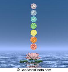 Seven chakra symbols column - 3D render