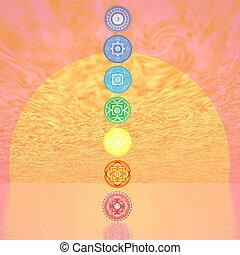Seven chakra symbols column by sunset - 3D render