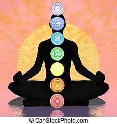 Seven chakra symbols column on black human being by sunset - 3D render