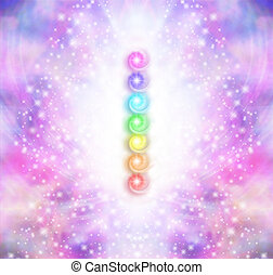 Seven Chakra Vortex Stack - Symmetrical pink and purple...