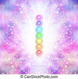 Seven Chakra Vortex Stack - Symmetrical pink and purple...