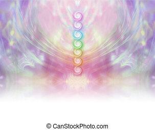 Seven Chakra Vortex Website Banner - Symmetrical pastel...