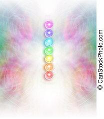 Seven Chakras background - Symmetrical intricate pastel...