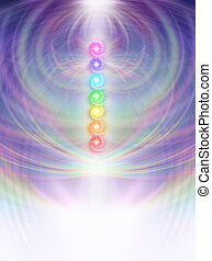 Symmetrical soft pastel colored intricate radiating line work background with a vertical row of seven chakra vortexes placed in center fading to white at base