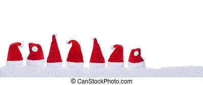 Seven Christmas hats