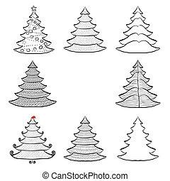 Seven Christmas trees set black on white