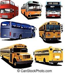 Seven city buses. Coach. School bu
