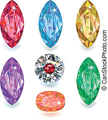 Seven colored gems - Set of colored gems isolated on white...