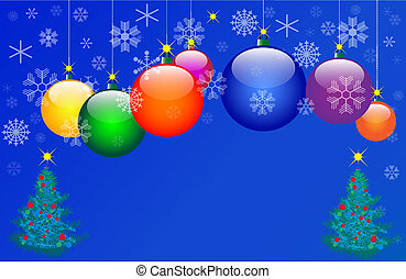 Seven Colour Christmas balls. Vector illustration