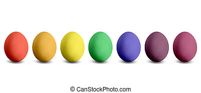 seven coloured Easter eggs isolated before white background