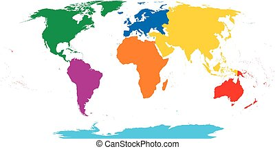 Seven continents map. Asia yellow, Africa orange, North ...
