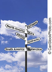 Seven continents signpost vertical - Signpost with arrows...