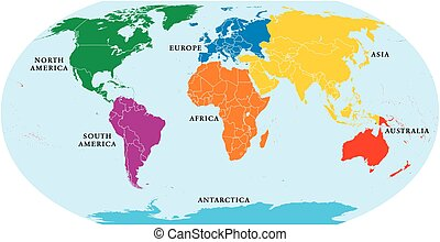 Seven Continents World Map - Seven continents world map....
