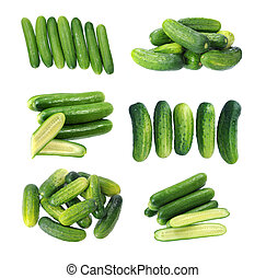 seven cucumbers isolated on white background